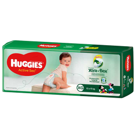 PAÑAL HUGGIES ACTIVE SEC Xtra Flex XG